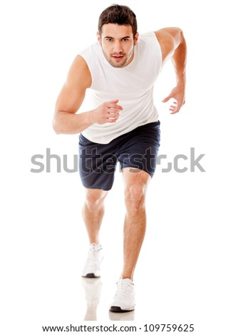 Male athlete running - isolated over a white background