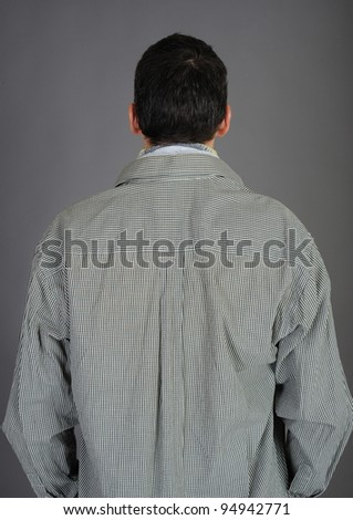 male back isolated on gray background - stock photo