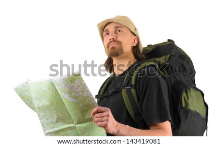 male backpacker holding a map and looking up
