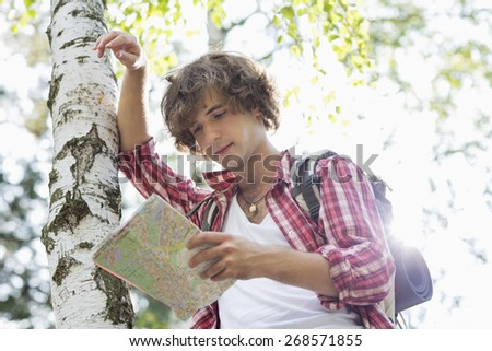 Male backpacker reading map while leaning on tree trunk in forest - stock photo