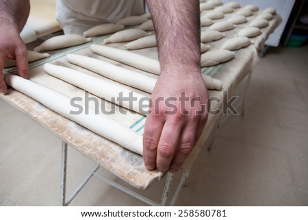 Male baker kneading and placing pieces of bread over fermentation sheet. Manufacturing process of spanish bread