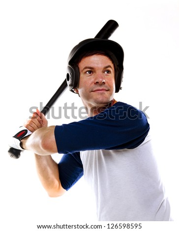 Male baseball or softball player ready at bat and isolated on white. - stock photo