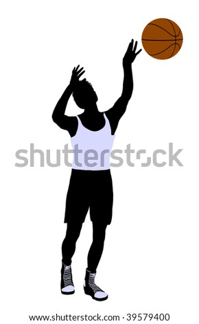 Male basketball player silhouette on a white background