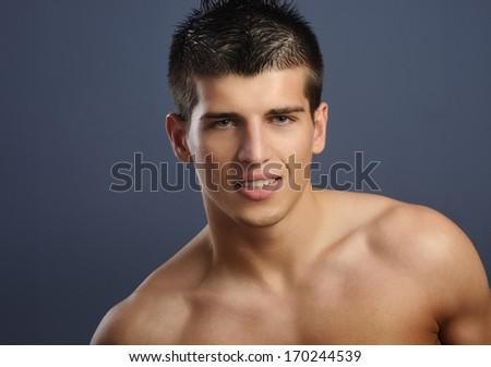 Male beauty portrait - stock photo