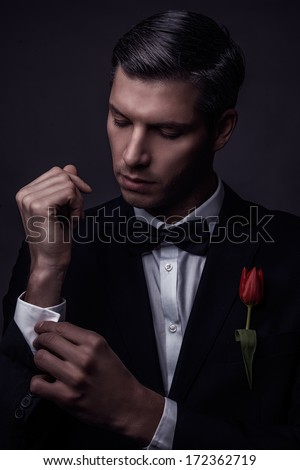 male beauty portrait nostalgic beauty - stock photo