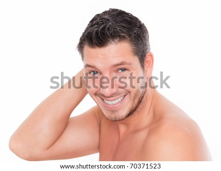 Male beauty smiling and laughing - stock photo
