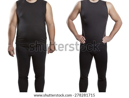 Male before and after. Weight loss. - stock photo