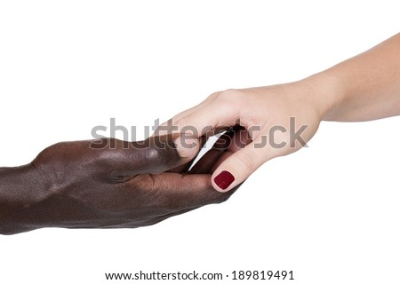 male black and female caucasian holding hands  - stock photo