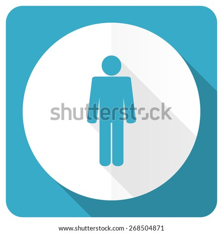 male blue flat icon male gender sign  - stock photo