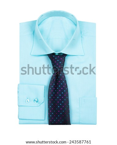 Male blue shirt isolated on white background - stock photo