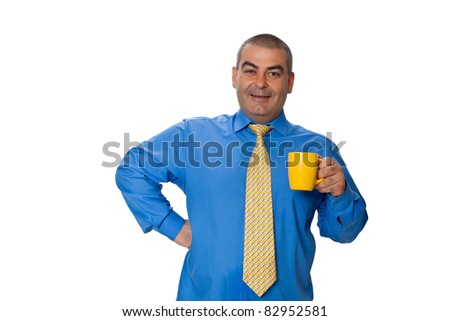 Male blue shirt tie holding a big yellow cup with a drink isolated on white background - stock photo
