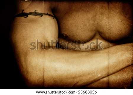 Male body Builder Textured - stock photo