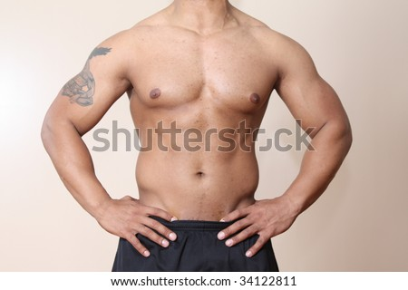 Male body builder torso, abdominal muscle
