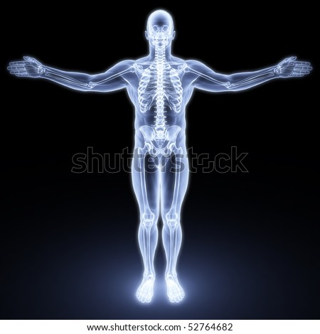 male body under X-rays. 3d render - stock photo