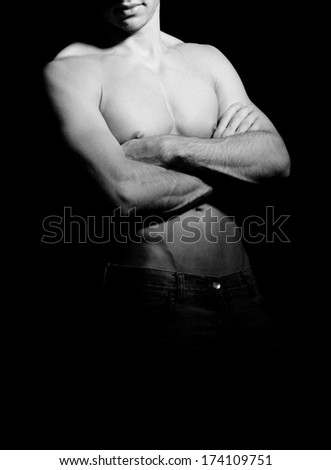 male body with lots of muscles - stock photo