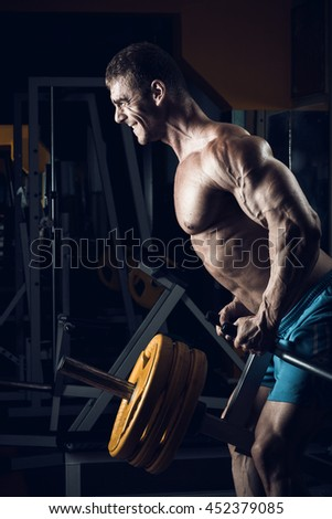 Male bodybuilder, fitness model trains in the gym - stock photo