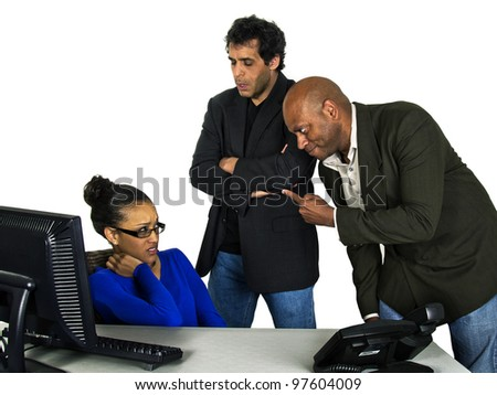 male bosses angry at female secretary - stock photo