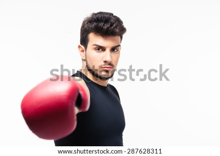Male boxer hitting at camera isolated on a white background  - stock photo