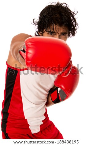 Male boxer in red. Studio shot over white. - stock photo