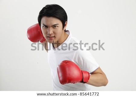 Male boxer with gloves - stock photo