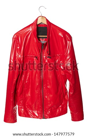 Male bright red dude jacket over coat hanger isolated on white background - stock photo