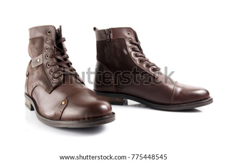Male brown leather elegant boot on white background, isolated product, comfortable footwear.