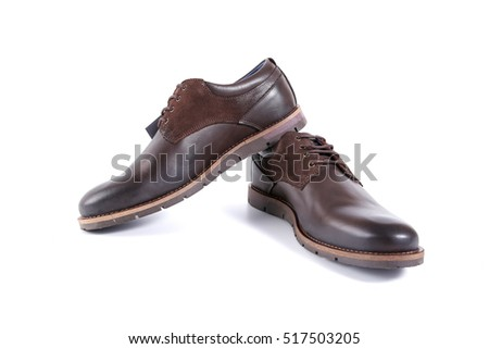 male brown shoes on white background, isolated product