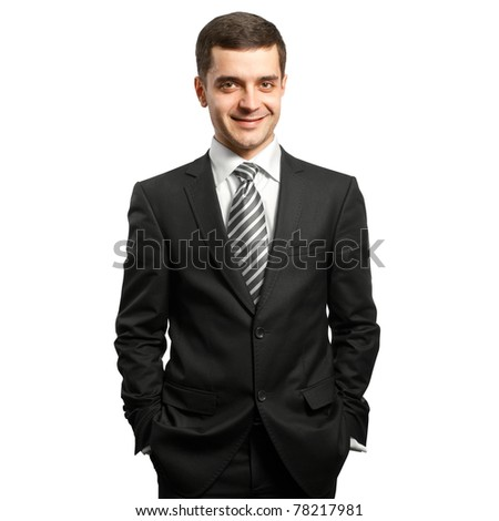 male businessman in suit smiles at camera - stock photo