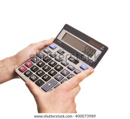 Male businessman using a calculator