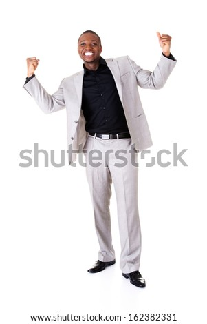 Male businessman with hands up, smiling. Isolated on white.  - stock photo