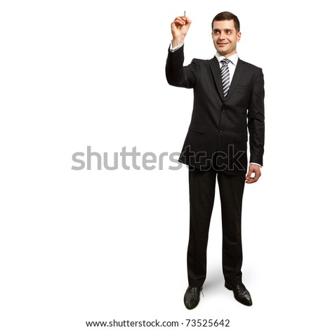 male businessman with marker writing something on glass writeboard - stock photo