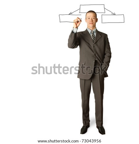 male businessman with marker writting something on glass writeboard - stock photo