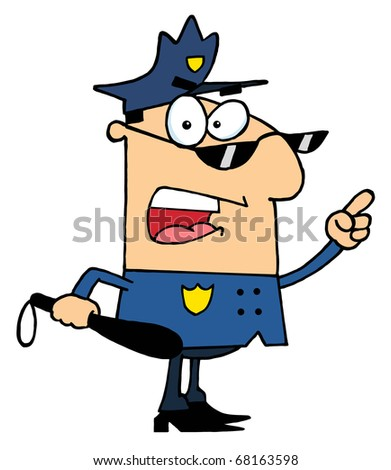 Male Caucasian Police Officer Holding A Club And Yelling - stock photo