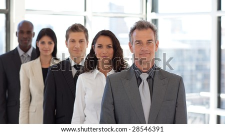 Male CEO Leading a business team - stock photo