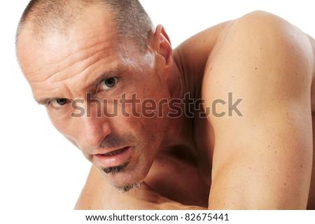 Male character portrait. Studio Shot against a white background. - stock photo