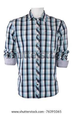 Male checkered shirt, isolated on white - stock photo