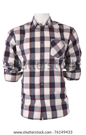Male checkered shirt on a mannequin, isolated on white - stock photo