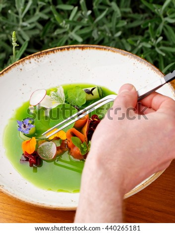 Male chef garnishing his dish, ready to serve - stock photo