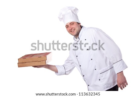 male chef holding a pizza box - stock photo