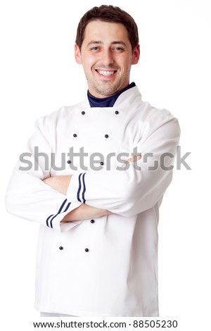 Male chef. Isolated over white. - stock photo