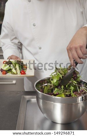 Male chef preparing leaf vegetables in commercial kitchen - stock photo