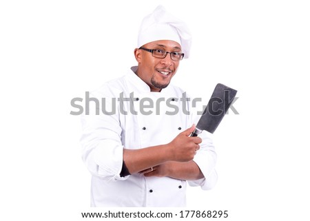 Male chef with cleaver isolated on white background - stock photo