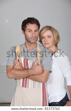 Male chef with female assistant - stock photo