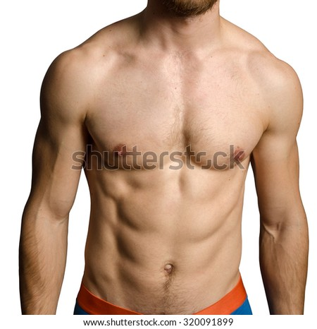 Male chest over grey background - stock photo
