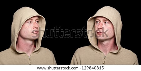 male close up serious moody scary hoody capture - stock photo