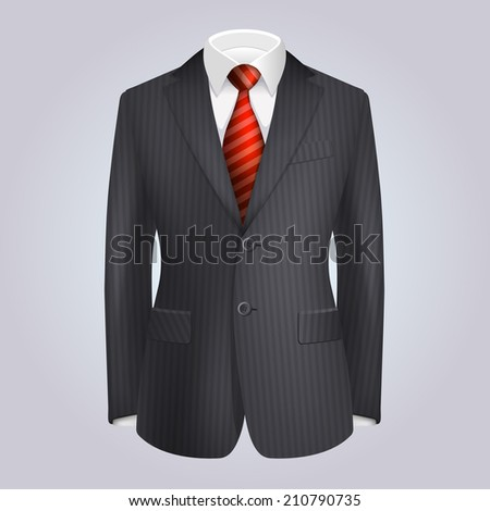 Male Clothing Dark Striped Suit with Red Tie.  Illustration - stock photo