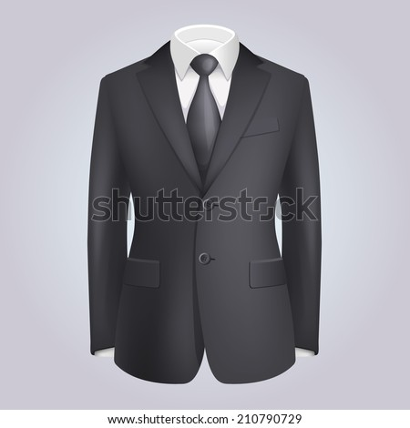 Male Clothing Dark Suit with Tie.  Illustration - stock photo