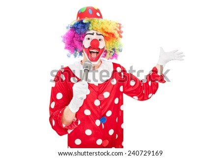 Male clown speaking on a microphone isolated on white background