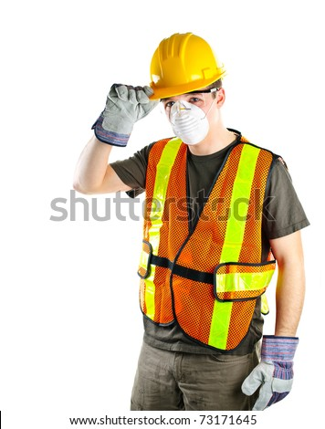 Male construction worker wearing safety protective gear - stock photo