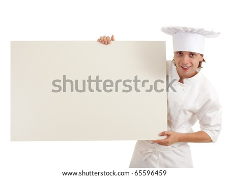 male cook in white uniform and hat with clipboard - stock photo